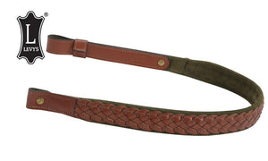 "Levy's Leathers Braided Leather Rifle Sling with Suede Backing, 31""-35"", Walnut & Green #SN7BS-WAL/GRN"