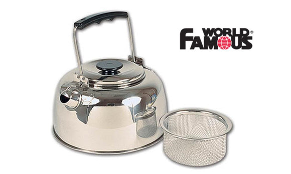 World Famous Stainless Steel Tea Kettle with Filter Basket, 1 Litre #753