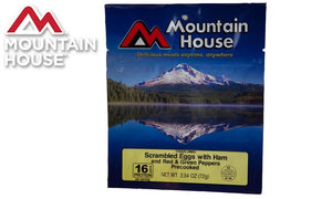 Mountain House Pouch, Scrambled Eggs with Ham, Red & Green Peppers, 3/4 Cup #53425