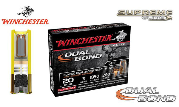"<B>(Store Pickup Only)</b><br> 20 Gauge - Winchester Supreme Elite Dual Bond Sabot Slugs, 3"", Box of 5 #SSDB203"