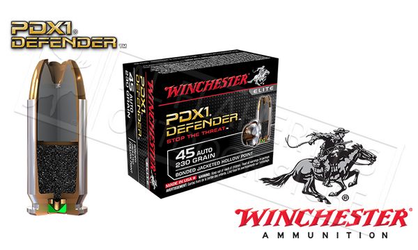 Winchester .45ACP PDX1 Defender, Bonded JHP 230 Grain Box of 20 #S45PDB