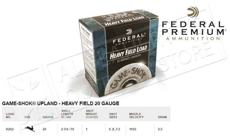 "Federal #H202 Game-Shok Upland Heavy Field Load, #6 to 7-1/2 Shot 2-3/4"", Box of 25"