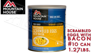 Mountain House Can, PreCooked Scrambled Eggs with Bacon, 13 Servings, 1.27lbs #30447