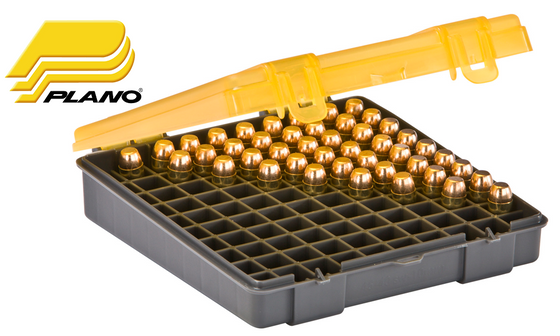 Plano 1227-00 Medium Handgun Caliber Ammo Box, 100 Rounds .45ACP, .40S&W, 10mm
