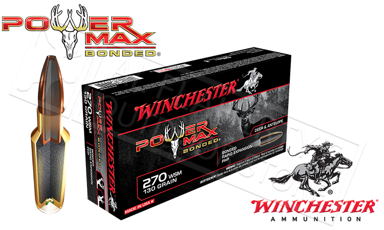 Winchester 270 WSM Power Max, Bonded HP 130 Grain Box of 20 #X270SBP