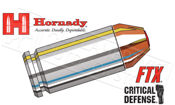 Hornady #91340 .40S&W Critical Defense, FTX 165 Grain Box of 20