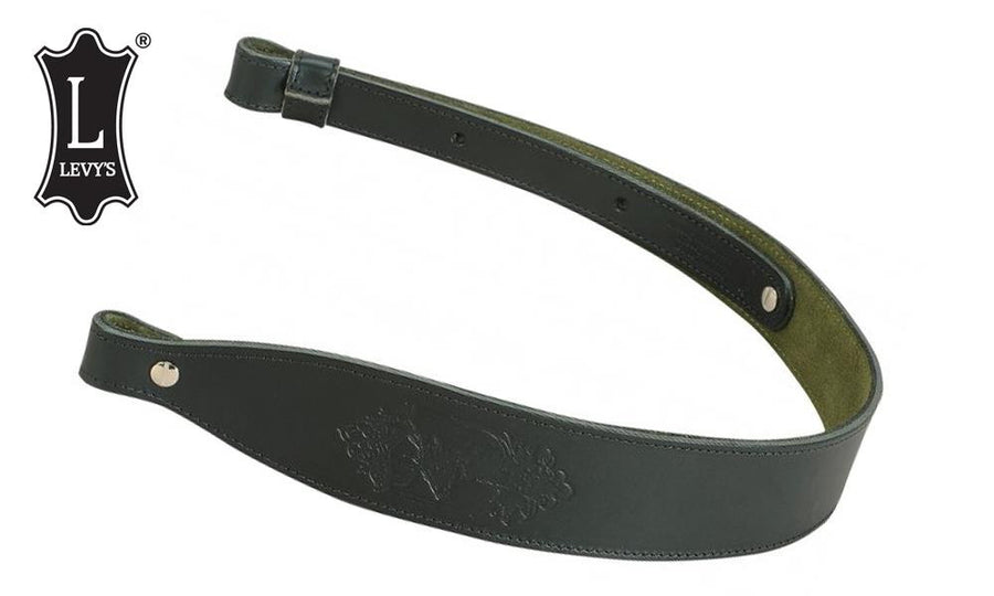 Levy's Leathers Stag Head Leather Cobra Rifle Sling, Black #SN26D-BLK