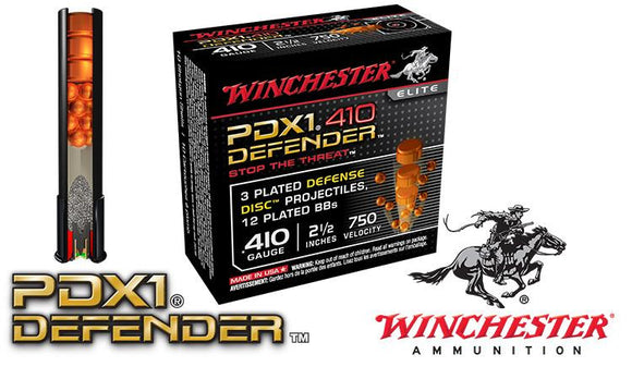 "<b>(Store Pickup Only)</b><br> .410 Gauge - Winchester PDX1 Defender Shells, 2-1/2"", Box of 10 #S410PDX1"
