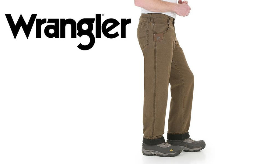 Wrangler Riggs Jeans with Thermal Lining, Night Brown Colour #3W055NB