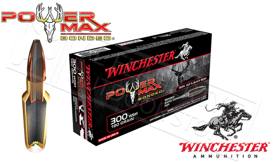 Winchester 300 WSM Power Max, Bonded HP 180 Grain Box of 20 #X300WSMBP