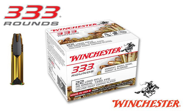 <b>(Store Pickup Only)</b><br>Winchester .22LR 333 Value Pack, 36 Grain JHP High Velocity, 1280 FPS, 333 Round Box #22LR333HP