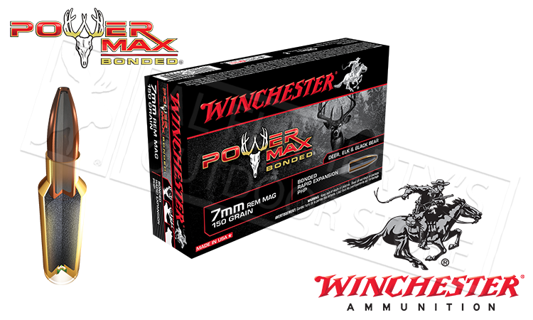 Winchester 7mm Rem Mag Power Max, Bonded HP 150 Grain Box of 20 #X7MMR1BP