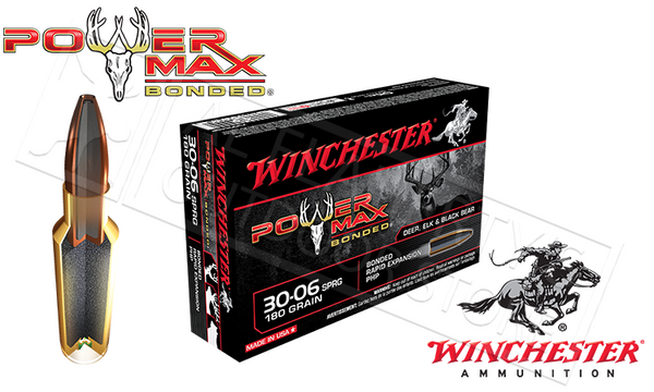 Winchester 30-06 Springfield Power Max, Bonded HP 180 Grain Box of 20 #X30064BP
