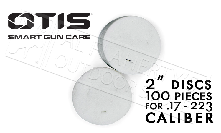 "Otis 2"" Cleaning Patches for 17 to 223 Caliber, Pack of 100 #FG-918-100"