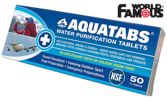 World Famous Aquatabs Water Purification Tablets, 50 Pack #1368