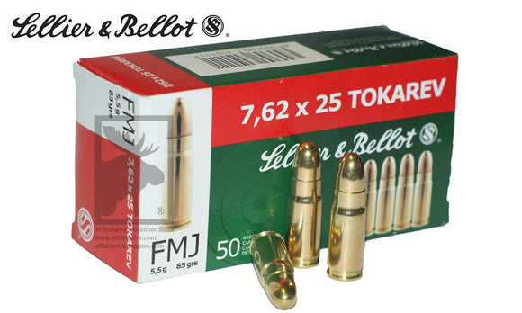 (Store Pickup Only)Sellier & Bellot 7.62x25 FMJ, 50-Rounds 85 Grain #V310492