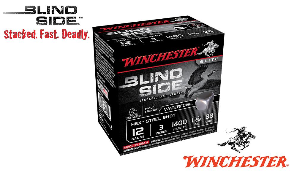 "<b>(Store Pickup Only)</b><br>12 Gauge, Winchester Elite Blind Side Waterfowl Shells, 3"" 1-3/8 oz., #BB Shot, 1400 FPS, Box of 25 #SBS123BB"