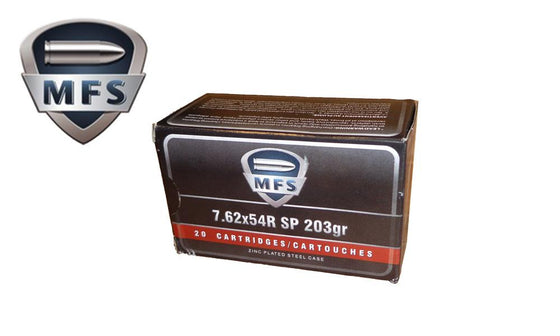 <b>(Store Pickup Only)</b><br> MFS 7.62x54r SP Non-Corrosive, 203 Grain, Box of 20 Rounds