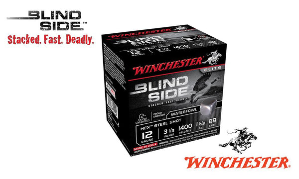 "<b>(Store Pickup Only)</b><br>12 Gauge, Winchester Elite Blind Side High Velocity Waterfowl Shells, 3-1/2"" 1-5/4 oz., #BB Shot, 1400 FPS, Box of 25 #SBS12LBB"