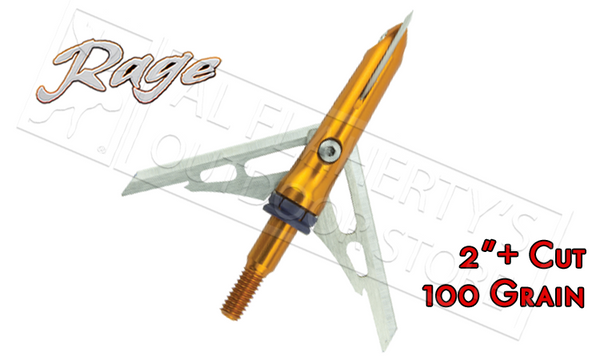 "Rage SlipCam Crossbow X-Blade Mechanical Broadheads, 2""+ Cut 100 Grain Pack of 3 #53000"