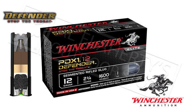 "12 Gauge - Winchester PDX1 Defender Shells, 2-3/4"" Segmented Slugs, Box of 10 #S12PDX1S"