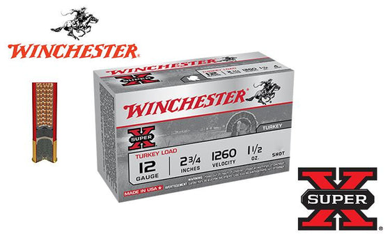 "<b>(Store Pickup Only)</b><br>12 Gauge, Winchester Super X Turkey Shells, 2-3/4"", 1.5 oz. #4 or 5 Shot, 1260 FPS, Box of 10 <br>#X12MT"