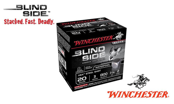 "<b>(Store Pickup Only)</b><br>20 Gauge, Winchester Elite Blind Side Waterfowl Shells, 3"" 1-1/16 oz., #2 Shot, 1300 FPS, Box of 25 #SBS2032"