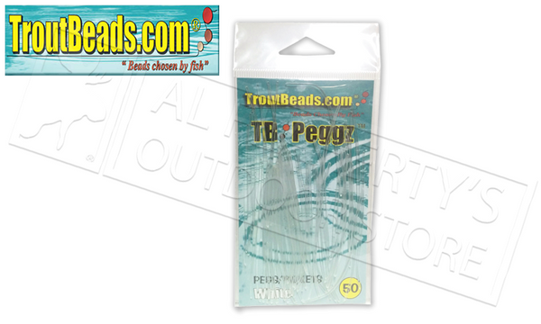 TroutBeads.com TB Peggz, White, Pack of 50 #TBPG-WT