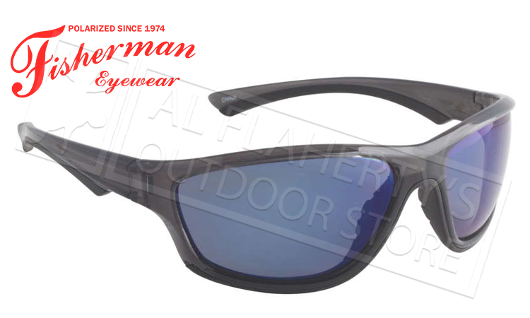 Fisherman Eyewear Rapid Polarized Glasses, Crystal Black Frame with Blue Mirror Lens #96100722
