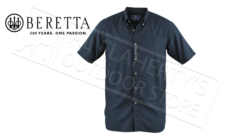 Beretta V-TECH Short-Sleeved Shooting Shirt, Navy Blue, Large #LT0975520504