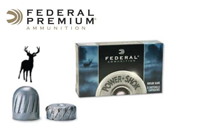 "<B>(Store Pickup Only)</b><br> 12 Gauge - Federal Power Shok Rifled Slugs, 2-3/4"" 1 oz., Box of 5 #F127RS"