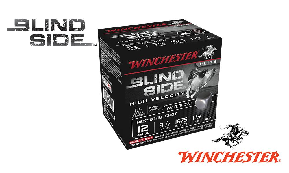"<b>(Store Pickup Only)</b><br>12 Gauge, Winchester Elite Blind Side High Velocity Waterfowl Shells, 3-1/2"" 1-3/8 oz., #1 Shot, 1675 FPS, Box of 25 #SBS12LHV1"