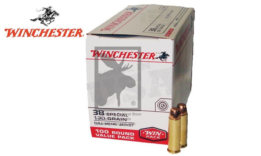 <b>(Store Pickup Only)</b><br> Winchester .38 Special FMJ Value Pack, 130 Grain, Box of 100 #USA38SPVP