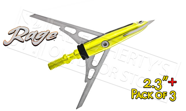 "Rage #51000 Slipcam X-Treme Mechanical Broadheads, 2.3""+ Cut 100 Grain Pack of 3"