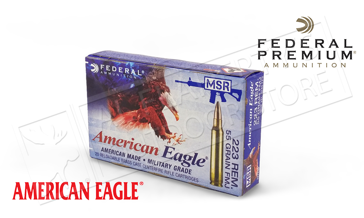 American Eagle .223 Rem Tactical, FMJ 55 Grain Box of 20 #AE223J