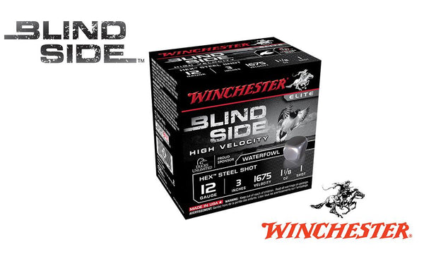 "<b>(Store Pickup Only)</b><br>12 Gauge, Winchester Elite Blind Side High Velocity Waterfowl Shells, 3"" 1-1/8 oz., #1 Shot, 1675 FPS, Box of 25 #SBS123HV1"