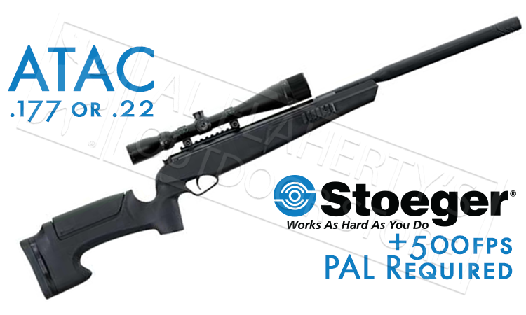 Stoeger Air Rifle ATAC Combo .177, or .22 Velocities: Up to 1,200 fps, Up to 1,000 fps