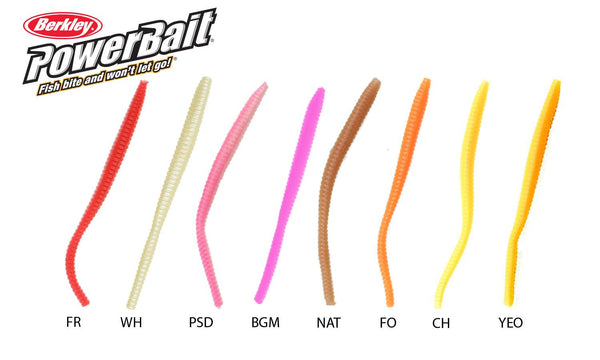 Berkley PowerBait Floating Trout Worms, Size 3, Various Colours #PBHFTW3