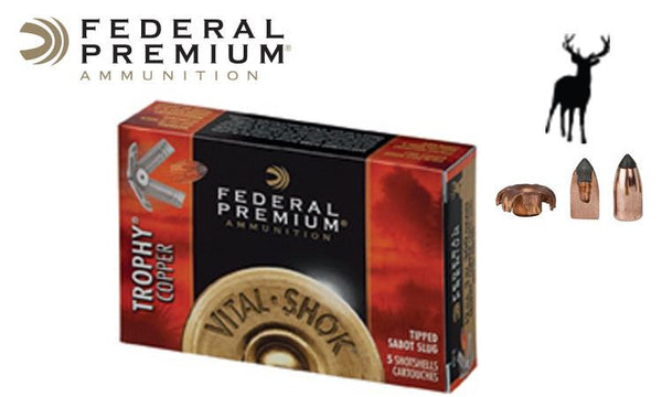 "<B>(Store Pickup Only)</b><br> 12 Gauge - Federal Vital Shok Trophy Copper Sabot Slugs, 2-3/4"", Box of 5 #P152TC"