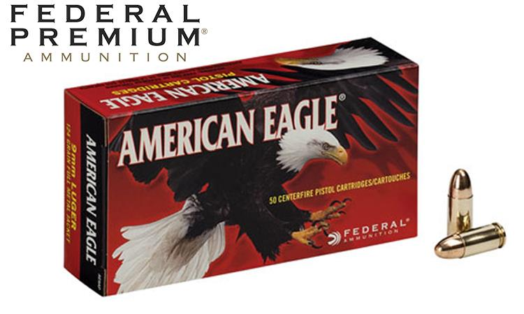 American Eagle 9mm Pistol Ammo, 124 Grain FMJ Pack of 50, Store Pickup Only