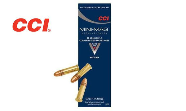 CCI 22LR Mini-Mag, High-Velocity, 40 Grain Round Nose, Box of 100 #0030