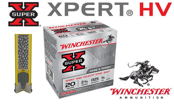 "<b>(Store Pickup Only)</b><br> 20 Gauge - Winchester Super-X Xpert HV Shells, 2-3/4"" #6 or #7-1/2 Steel Shot, Boxes of 25 #WE20GT"