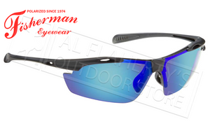 Fisherman Eyewear Ray Polarized Glasses, Matte Black Frame with Blue Mirror Lens #50250031