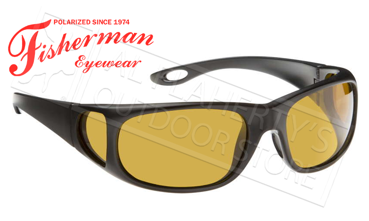 Fisherman Eyewear Grander Polarized Sunglasses, Black with Amber Lens #50270004