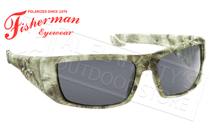 Fisherman Eyewear Bayou Polarized Glasses, Green Terrain Frame with Gray Lens #50280501