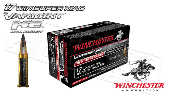 Winchester 17WSM Varmint HE, 25 Grain Box of 50 #S17W25