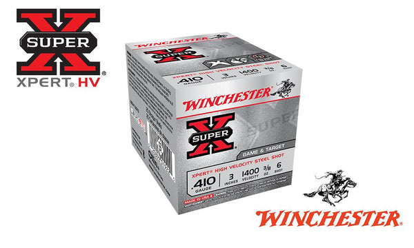"<b>(Store Pickup Only)</b><br>.410 Gauge, Winchester Super X Xpert High Velocity Waterfowl Shells, 2-3/4"" #6 Shot, 3/8 oz., 1400 FPS, Box of 25 #WE413GT6"