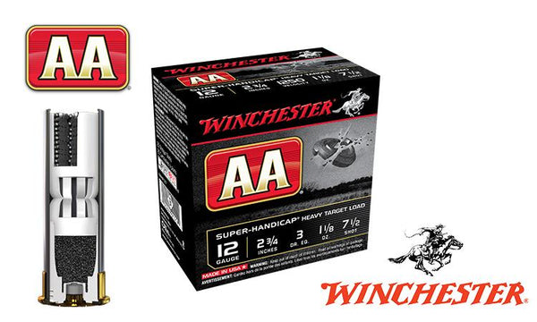 "<b>(Store Pickup Only)</b><br>12 Gauge, Winchester AA Super-Handicap, #7.5, 2-3/4"", 1-1/8 oz., Case of 250 #AAHA127-CASE"