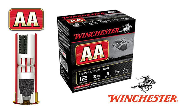 "<b>(Store Pickup Only)</b><br>12 Gauge, Winchester AA Heavy Target Load, #7.5, 2-3/4"", 1-1/8 oz., Case of 250 #AAM127-CASE"
