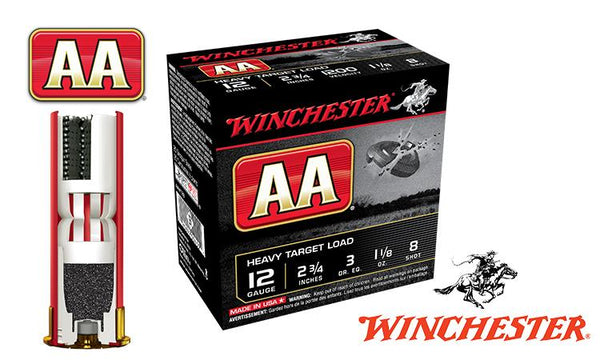 "<b>(Store Pickup Only)</b><br>12 Gauge, Winchester AA Heavy Target Load, #8, 2-3/4"", 1-1/8 oz., Case of 250 #AAM128-CASE"